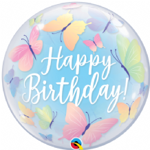 "Birthday Soft Butterflies Bubble Balloon (22"") 1pc"